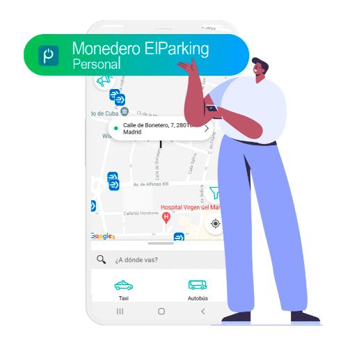 monedero personal ElParking, taxi y bus